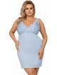 błękitna koszulka nocna plus size dla pań o większych wymiarach regulowane ramiączka długość do kolan donna lucia