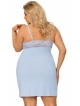 koszulka nocna większe rozmiary plus size błękitna z koronkowymi miseczkami ramiączka regulowane dlugość do kolan donna lucia