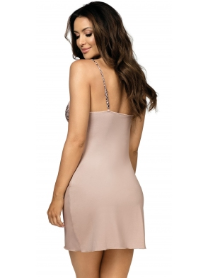 donna koszulka nocna z panterką na miseczkach biustonosza na ramiączkach długość do połowy uda selma