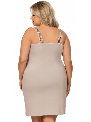 donna plus size koszulka nocna miseczki z panterki i koronki regulowane ramiączka długość bielizny do kolan selma