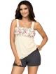 piżama damska z wzorzystą częścią stanikową w róże góra na ramiączkach rozszerzająca do dołu krótkie popielate spodenki donna