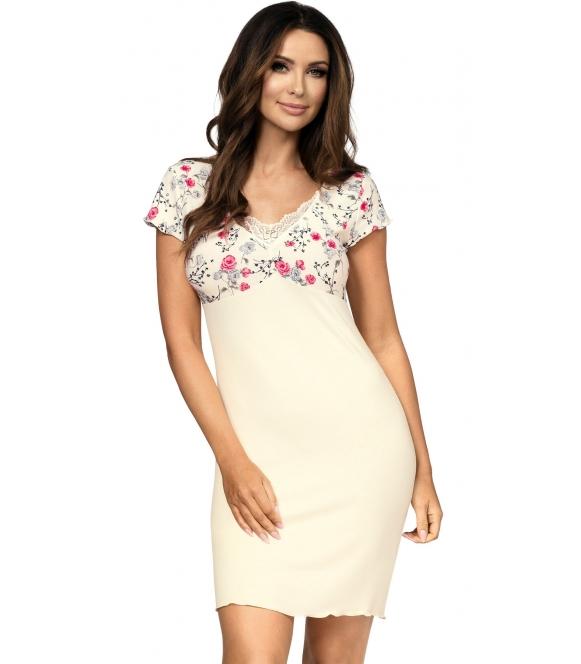 bielizna nocna koszulka kwiatowa aplikacja na miseczkach i krótkich rękawkach czerwone róże długość do połowy uda donna
