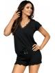 piżama damska z falbankami czarna krótkie spodenki z kokardką koszulka z dekoltem z koronki krótki rękaw donna agnes 1/2 black