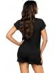 dwuczęściowa piżama z falbankami na krótkich spodenkach koszulka czarna z dekoltem obszytym koronką krótki rękaw donna agnes 1/2