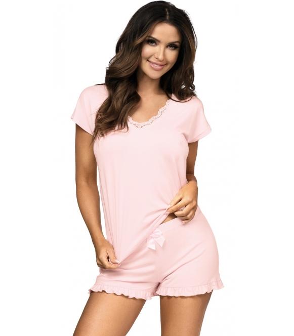 różowa piżama daska z falbankami na krótkich spodenkach koszulka z krótkim rękawem i dekoltem z koronki donna agnes pink