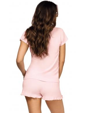 bielizna nocna różowa piżama damska dwuczęściowa koszulka z krótkim rękawem spodenki krótkie zakończone falbanką donna agnes