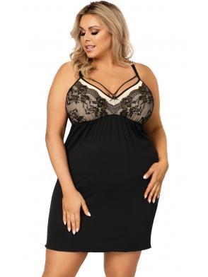 donna koszula nocna size plus czarna z elementami pudrowego beżu na ramiączkach długość do kolan donna