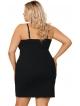 bielizna nocna rozmiary plus size czarna koszula nocna z pudrowym beżem na miseczkach i czarną koronką
