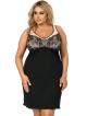 czarna koszula nocna plus size z kontrastującym beżowym kolorem miseczek regulowane ramiączka donna