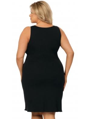 bielizna nocna plus size koszula damska nocna w kolorze czarnym z jasnymi miseczkami z czarną koronką ramiączka regulowane