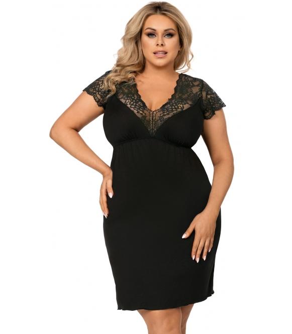 czarna koszula nocna plus size z koronkowymi ramiączkami i dekoltem donna tess plus black