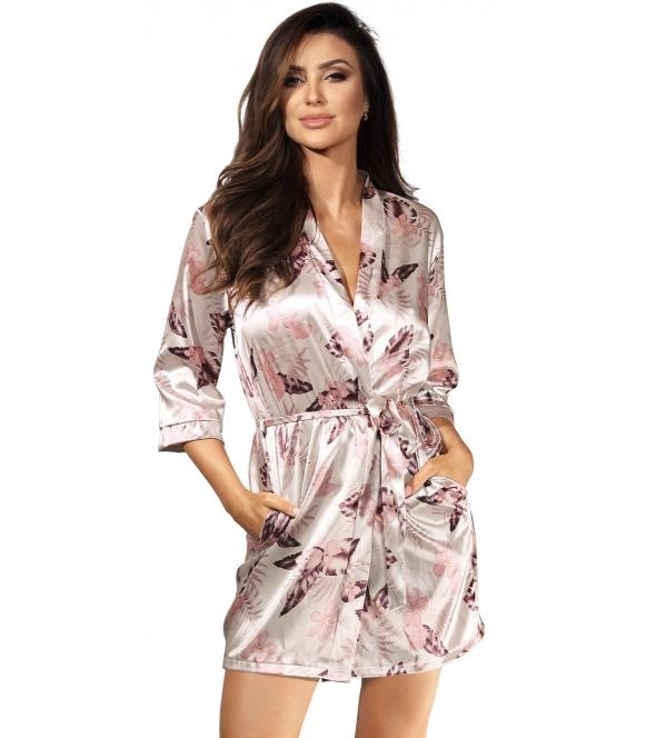 perłowo różowy szlafrok damski długości do połowy uda satynowy wiązany w pasie
