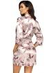 satynowy perłowo różowy szlafrok damski wzorzysty wiązany w talii długość do połowy uda donna