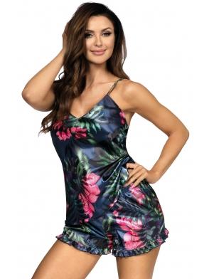 perłowo granatowa krótka piżama damska z motywem w tropikalne rośliny na ramiączkach krótkie spodenki donna