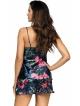 satynowa piżama damska krótkie spodenki na ramiączkach dwuczęściowa perłowo granatowa z kwiecistym motywem donna katie