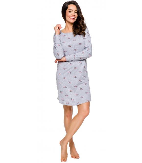 bawełniana koszula nocna długi rękaw z nadrukiem na całym materiale szara przed kolano taro gala