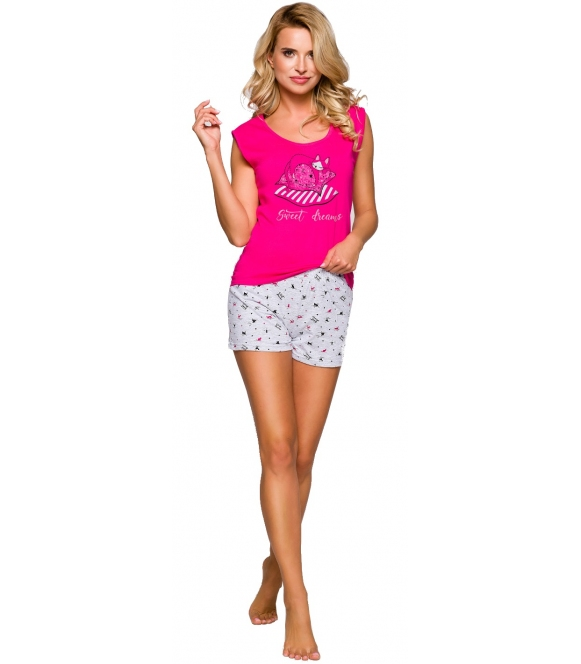 różowo szara piżama damska z krótkim rękawem i krótkimi spodenkami modny nadruk taro eva